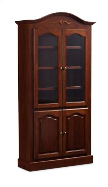 "Classic Arch Top Wide Bookcase, Glass Doors on Top and Wood Doors on Bottom, Classic Arch Top Wide Bookcase, Glass Doors on Top and Wood Doors on Bottom, 3-Adjustable Shelves, 39""w"