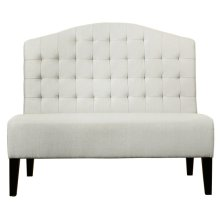 Biscuit Tufted Entryway Bench in Ivory White