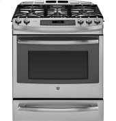 """Floor Model - GE Profile™ Series 30"""" Slide-In Front Control Gas Range with Warming Drawer"""