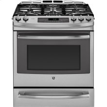 """GE Profile™ Series 30"""" Slide-In Front Control Gas Range with Warming Drawer"""