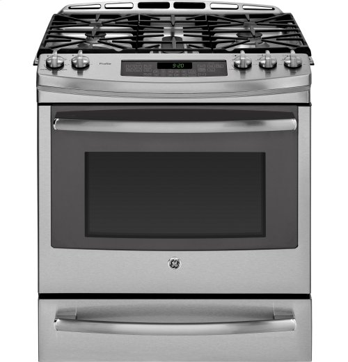 """CLOSEOUT - GE Profile Series 30"""" Slide-In Gas Range with Warming Drawer"""