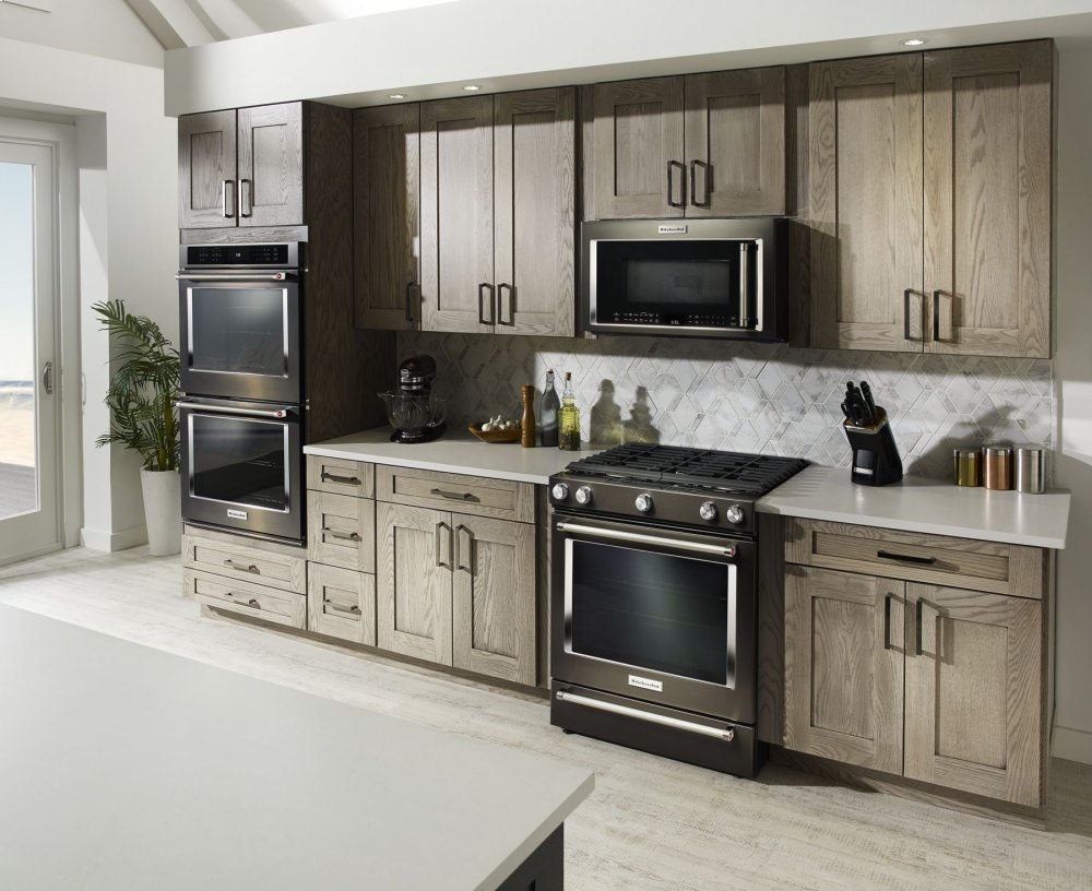 Kitchenaid 1000 Watt Convection Microwave Hood Combination Black Stainless