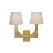 Gold Leaf 2 Arm Sconce With White Linen Shade