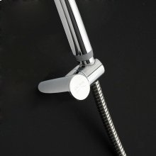 Hook for hand-held shower head.