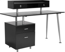 Piedmont Home and Office Desk with 2 Drawers and Top Storage Shelf in Dark Ash Finish [NAN-JN-2339-G-GG