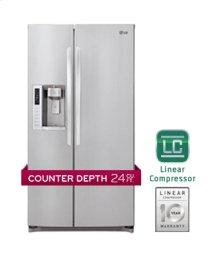 Large Capacity Side-by-Side Counter Depth Refrigerator with Ice & Water Dispenser