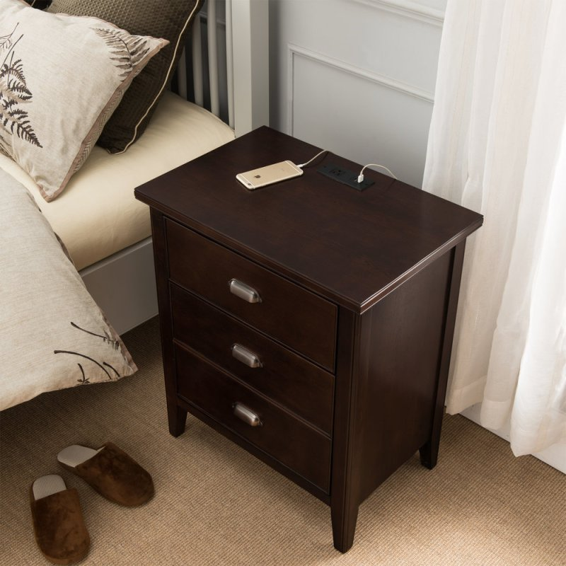 Night Stand With Top Drawer Door And 2 Plug Electrical Outlet Usb Charging