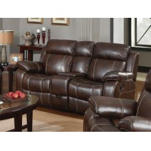 Myleene Chestnut Leather Reclining Loveseat