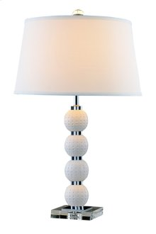 1 Light Table Lamp with Metal Resin Crystal Body & Brushed Nickel & Clear&White(EL-2011) Finish