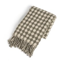 Recycled Cream & Sage Check with Braided Fringe Woven Throw