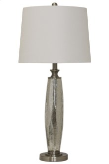 HOT BUY CLEARANCE!!! Mercury Glass & Brushed Steel Base Table Lamp With White Drum Shade