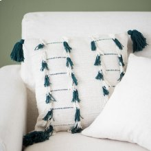Teal Lillian Tassel Pillow