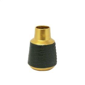 """Green/gold Alligator Vase 7"""""""