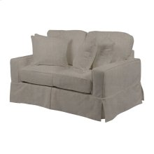 Sunset Trading Americana Slipcovered Loveseat in Light Gray