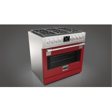 """36"""" Dual Fuel Pro Range - Glossy Red"""