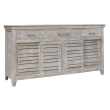Bengal Manor Mango Wood 3 Drawer, 4 Sliding Door Grey Sideboard