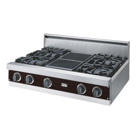 """Chocolate 36"""" Open Burner Rangetop - VGRT (36"""" wide, four burners 12"""" wide char-grill)"""