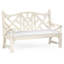 White Painted Lattice Work Bench - COM