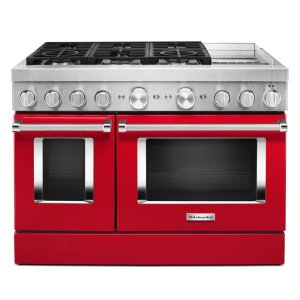 KitchenAidKitchenAid® 48'' Smart Commercial-Style Dual Fuel Range with Griddle - Passion Red