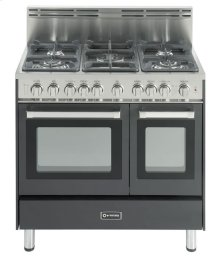 "36"" Gas Double Oven Range Matte Black 4"" B/G"