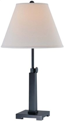 Table Lamp, Dark Bronze/white Fabric Shade, Type A 100w