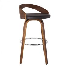 """Armen Living Sonia 26"""" Barstool in Walnut Wood finish with Brown Pu upholstery"""