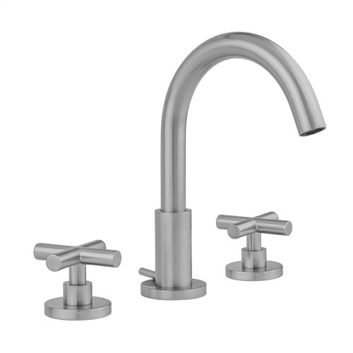 Unlacquered Brass - Uptown Contempo Faucet with Round Escutcheons & Contempo Slim Cross Handles & Fully Polished & Plated Pop-Up Drain