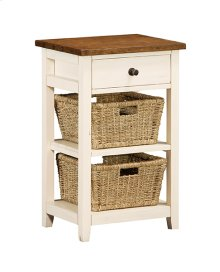 Tuscan Retreat® 2 Basket Stand - Country White With Antique Pine Top