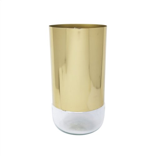 "10"" Metal & Glass Vase, Gold"