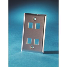 Single gang stainless steel faceplate, holds four Keystone jacks or modules