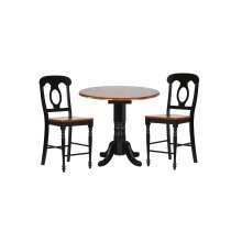 "DLU-TPD4242CB-B50-BCH3PC  3 Piece 42"" Round Drop Leaf Pub Table Set with Napoleon Stools"