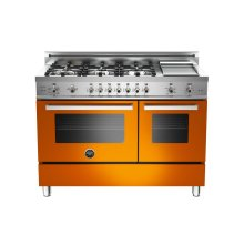 48 6-Burner + Griddle, Gas Double Oven Orange