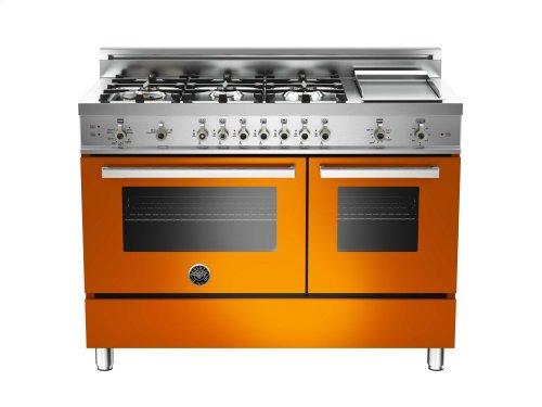 48 6-Burner + Griddle, Gas Double Oven Orange