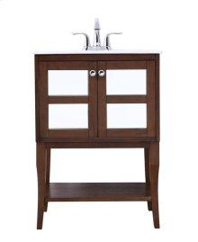 24 in. single bathroom mirrored vanity set in Antique Coffee
