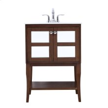 24 in. single bathroom mirrored vanity set in Antique Coffee