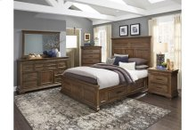 Queen Platform Bed with Rails Storage