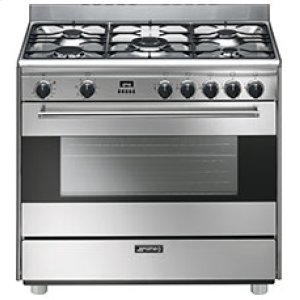 "SmegFree-Standing Dual Fuel Range, Approx 36"", Stainless Steel"