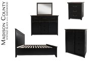 Madison County 3 PC King Panel Bedroom: Bed, Dresser, Mirror - Vintage Black Product Image
