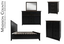 Madison County 4 PC King Panel Bedroom: Bed, Dresser, Mirror, Nightstand - Vintage Black