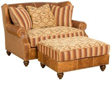 Lucy Leather Fabric Settee, Lucy Ottoman