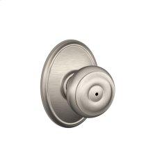 Georgian Knob with Wakefield trim Bed & Bath Lock - Satin Nickel