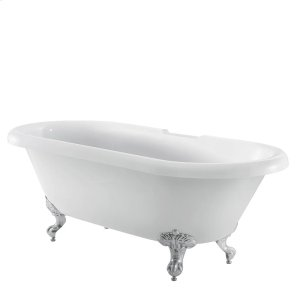 "Claudia 67"" Acrylic Double Roll Top Tub - 7"" Rim Holes / Brushed Nickel Product Image"