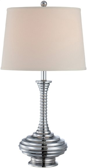 Table Lamp, Chrome/off-white Fabric Shade, E27 Cfl 23w