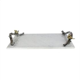 Marble Tray W/vine Handles, White
