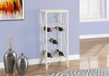 """HOME BAR - 40""""H / WHITE METAL WINE BOTTLE AND GLASS RACK"""