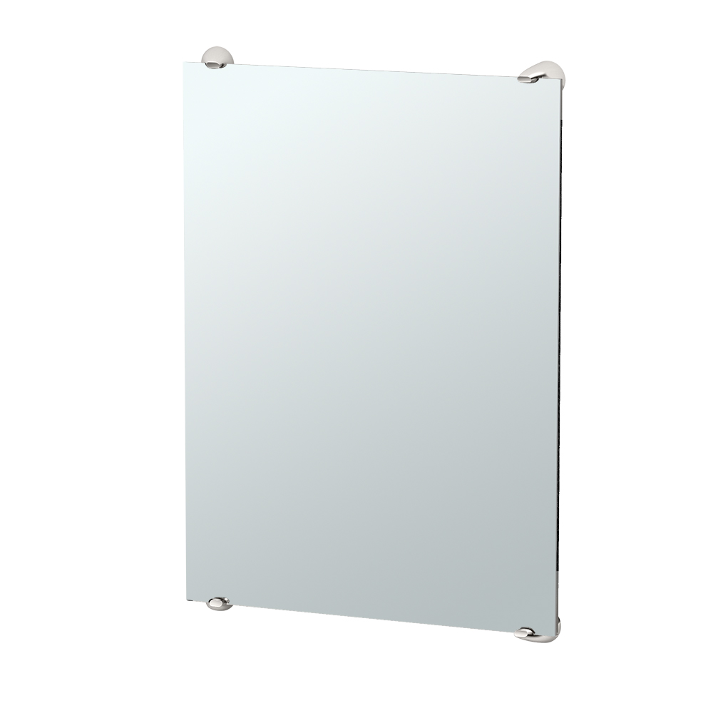 Brie Fixed Mount Mirror in Satin Nickel