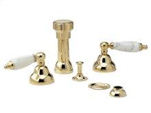 Four Hole Bidet Set White Marble - Polished Brass