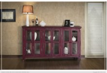 Console w/6 Glass Doors, Red Currant finish