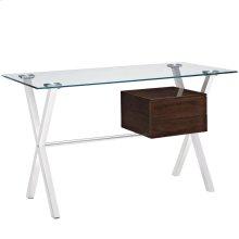 Stasis Glass Top Office Desk in Walnut