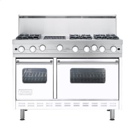 "White 48"" Open Burner Commercial Depth Range - VGRC (48"" wide, six burners 12"" wide char-grill)"